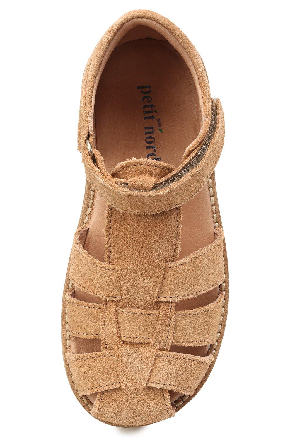 Детские кожаные босоножки PETIT NORD бежевого цвета, арт. 2543/25-30   Фото 4 (Материал внутренний: Натуральная кожа)