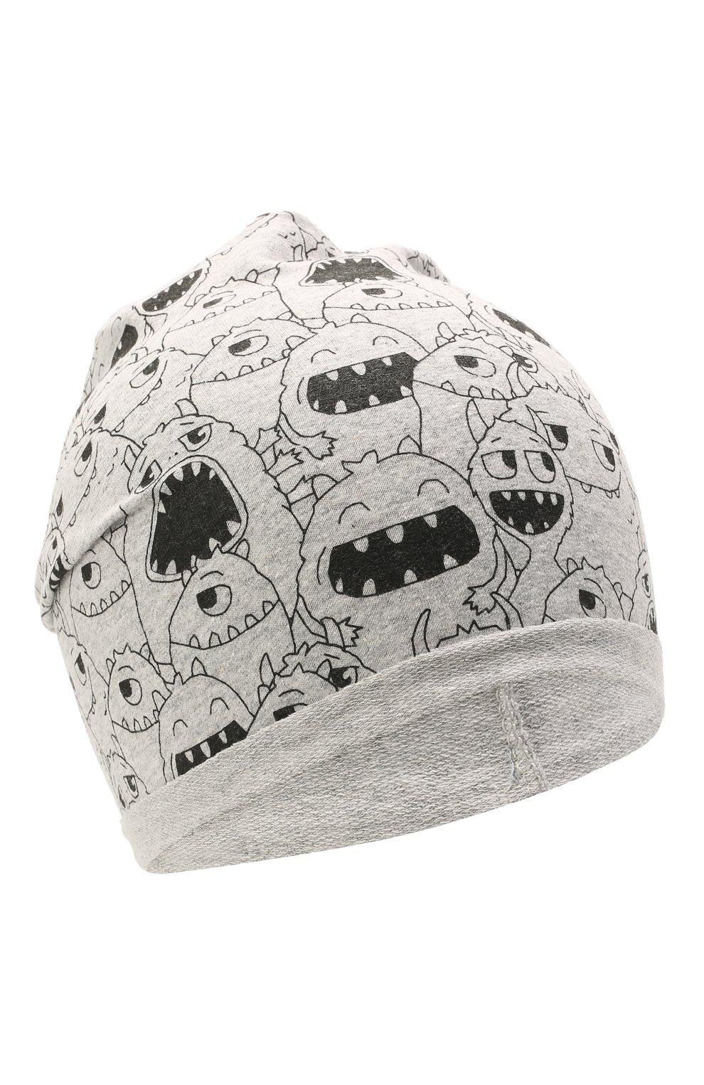 Детского хлопковая шапка CATYA серого цвета, арт. 115083 | Фото 1 (Материал: Текстиль, Хлопок)