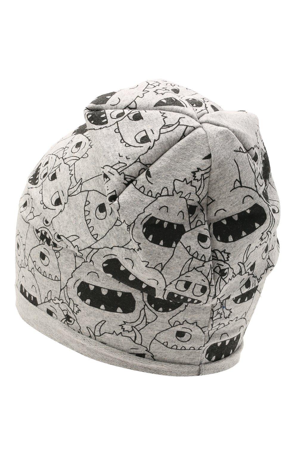 Детского хлопковая шапка CATYA серого цвета, арт. 115083 | Фото 2 (Материал: Текстиль, Хлопок)