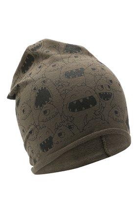 Детского хлопковая шапка CATYA хаки цвета, арт. 115083 | Фото 1