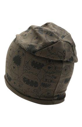 Детского хлопковая шапка CATYA хаки цвета, арт. 115083 | Фото 2