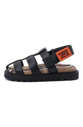 Детские кожаные сандалии BURBERRY черного цвета, арт. 8037146 | Фото 2