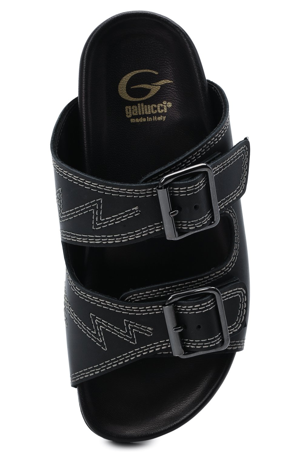 Детский кожаные шлепанцы GALLUCCI черного цвета, арт. J10106AM/SA P V G0M MAI | Фото 4 (Материал внутренний: Натуральная кожа)