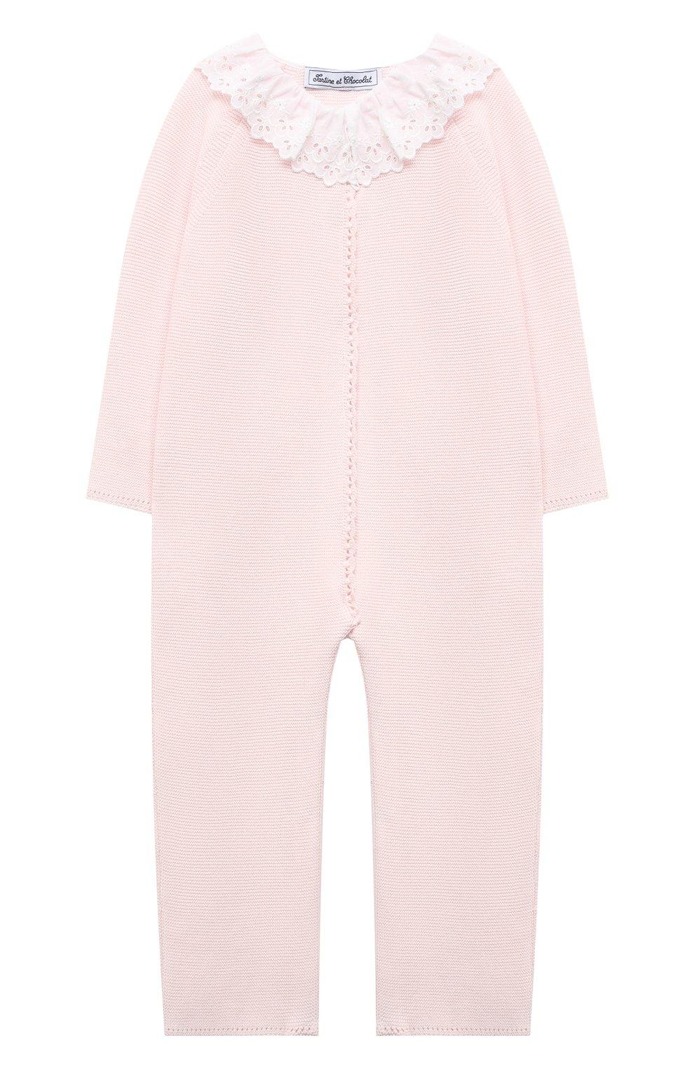 Детский хлопковый комбинезон TARTINE ET CHOCOLAT светло-розового цвета, арт. TS32001/1M-1A | Фото 1