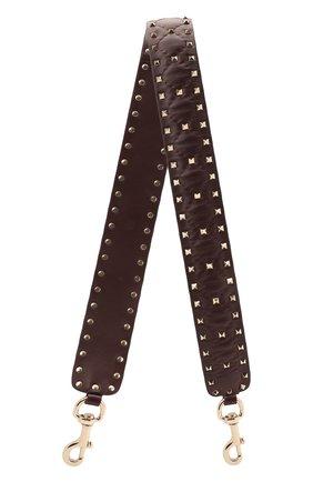 Женские кожаный ремень для сумки valentino garavani rockstud spike VALENTINO бордового цвета, арт. QW0P0P37/NAP | Фото 1