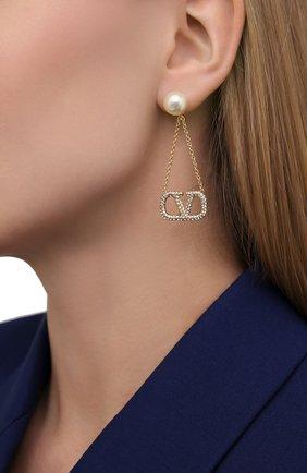 Женские серьги valentino garavani vlogo VALENTINO золотого цвета, арт. VW2J0H23/QVS | Фото 2