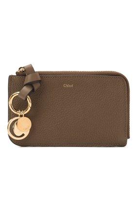 Женский кожаный футляр для кредитных карт CHLOÉ хаки цвета, арт. CHC21SP944C62 | Фото 1