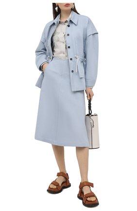 Женская юбка изо льна и хлопка TELA голубого цвета, арт. 11 5269 01 0170 | Фото 2