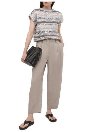 Женские шерстяные брюки GIORGIO ARMANI бежевого цвета, арт. 1SHPP0H1/T02F9 | Фото 2