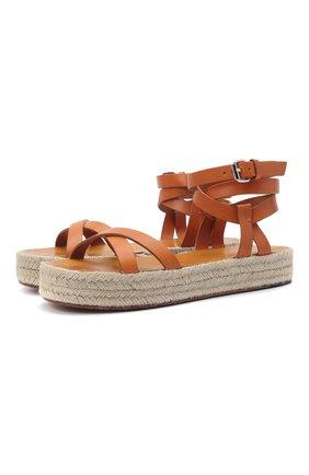 Женские кожаные сандалии malay ISABEL MARANT коричневого цвета, арт. MELYZ/EP0049-21P036S   Фото 1 (Подошва: Платформа; Материал внутренний: Натуральная кожа)