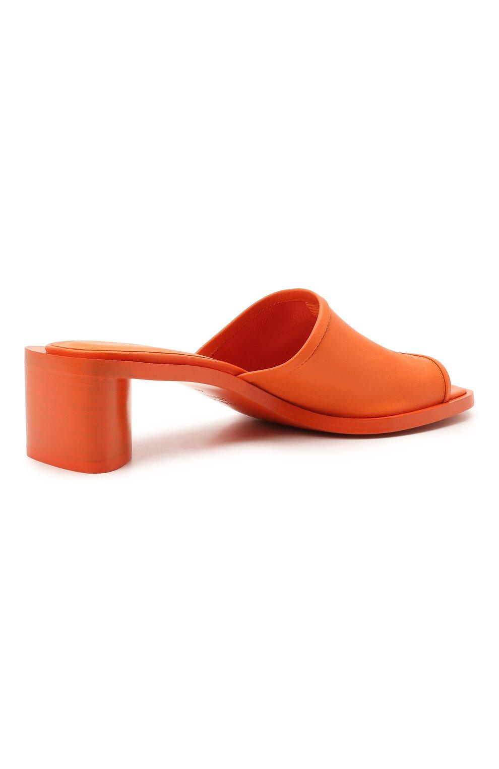 Женские кожаные мюли ACNE STUDIOS оранжевого цвета, арт. AD0349 | Фото 4