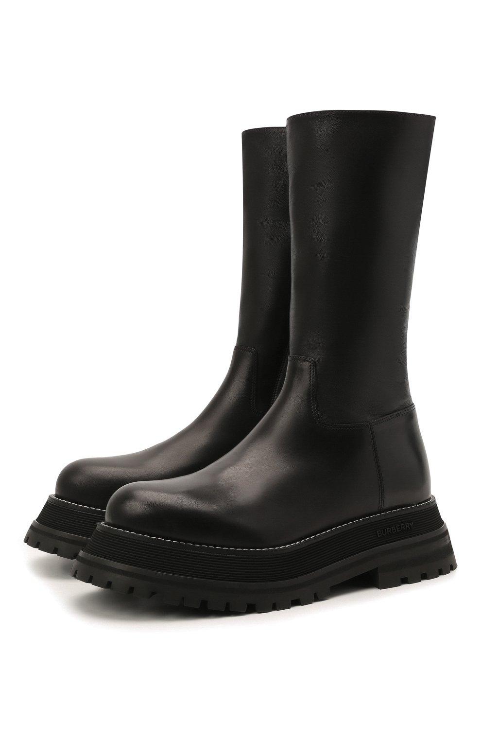 Женские кожаные сапоги BURBERRY черного цвета, арт. 8037619 | Фото 1