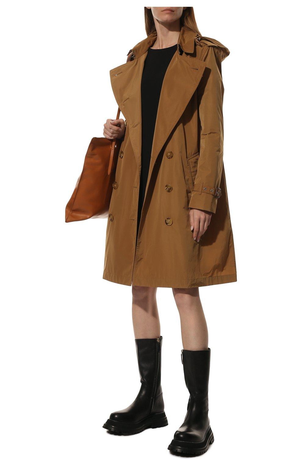 Женские кожаные сапоги BURBERRY черного цвета, арт. 8037619 | Фото 2