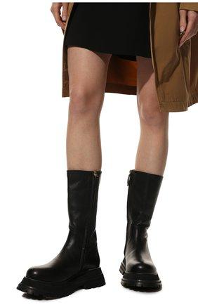 Женские кожаные сапоги BURBERRY черного цвета, арт. 8037619 | Фото 3