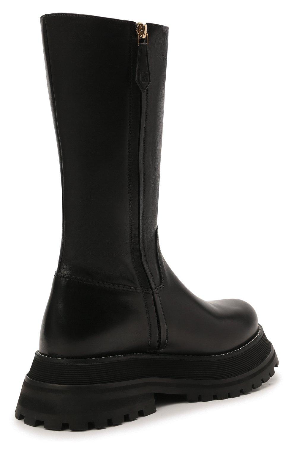 Женские кожаные сапоги BURBERRY черного цвета, арт. 8037619 | Фото 5