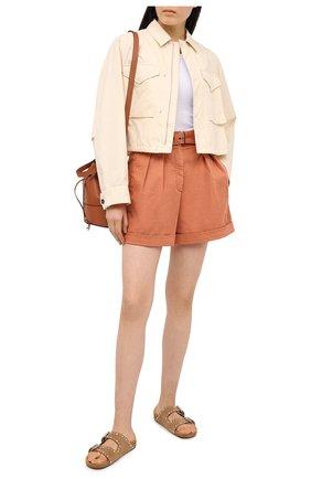 Женские джинсовые шорты BRUNELLO CUCINELLI оранжевого цвета, арт. MA080P5646 | Фото 2