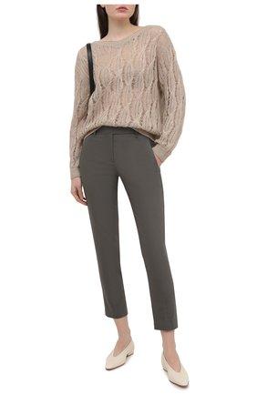 Женские хлопковые брюки BRUNELLO CUCINELLI хаки цвета, арт. M0F70P6572 | Фото 2