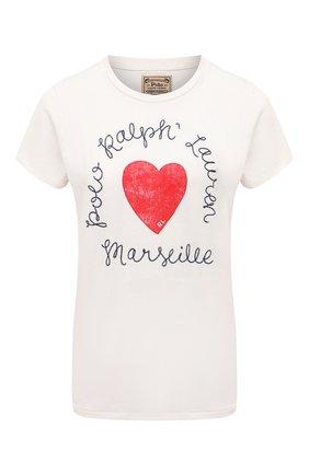 Женская хлопковая футболка POLO RALPH LAUREN белого цвета, арт. 211827902 | Фото 1
