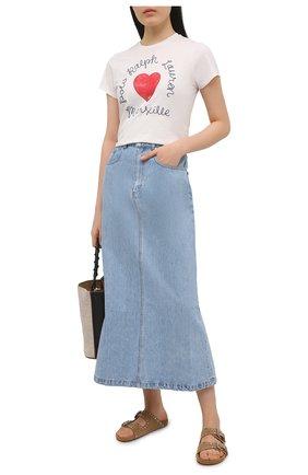 Женская хлопковая футболка POLO RALPH LAUREN белого цвета, арт. 211827902 | Фото 2