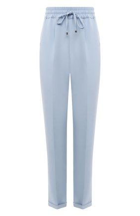 Женские шелковые брюки KITON голубого цвета, арт. D37102K09T63 | Фото 1