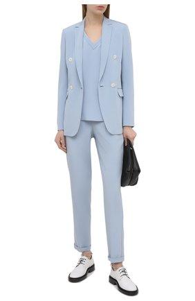 Женские шелковые брюки KITON голубого цвета, арт. D37102K09T63 | Фото 2
