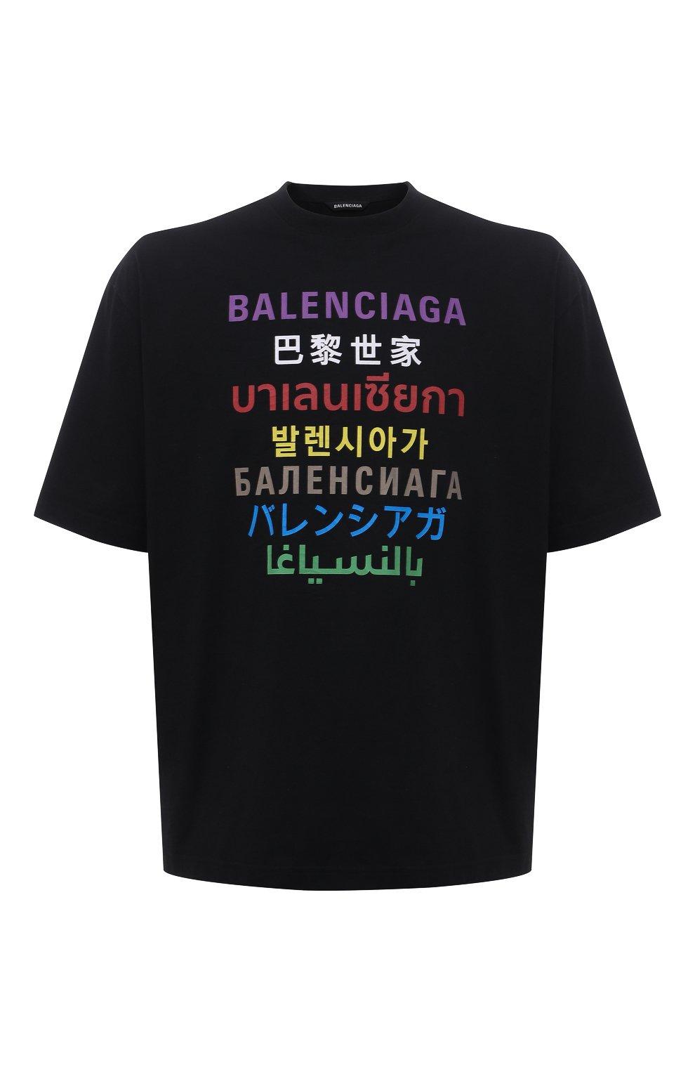 Мужская футболка BALENCIAGA черного цвета, арт. 612966/TJVI3   Фото 1 (Рукава: Короткие; Материал внешний: Синтетический материал, Хлопок; Длина (для топов): Стандартные; Стили: Гранж; Принт: С принтом)