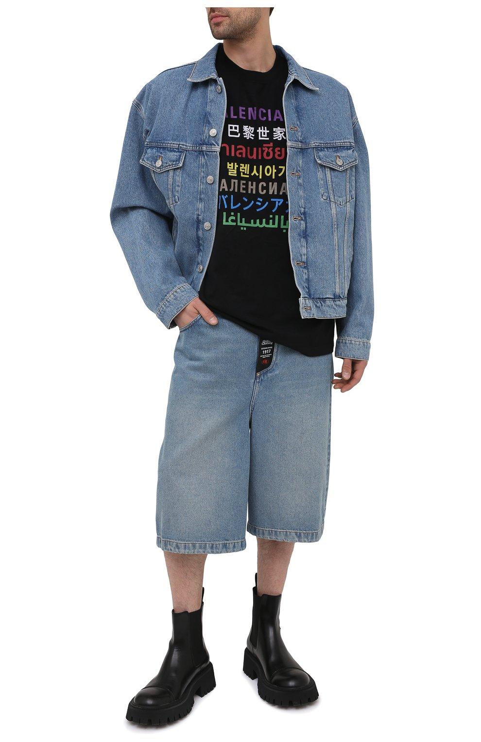 Мужская футболка BALENCIAGA черного цвета, арт. 612966/TJVI3   Фото 2 (Рукава: Короткие; Материал внешний: Синтетический материал, Хлопок; Длина (для топов): Стандартные; Стили: Гранж; Принт: С принтом)