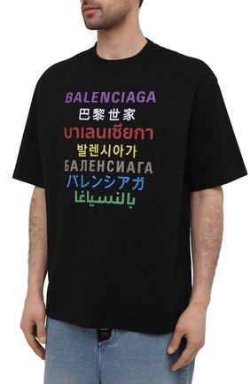 Мужская футболка BALENCIAGA черного цвета, арт. 612966/TJVI3   Фото 3 (Рукава: Короткие; Материал внешний: Синтетический материал, Хлопок; Длина (для топов): Стандартные; Стили: Гранж; Принт: С принтом)