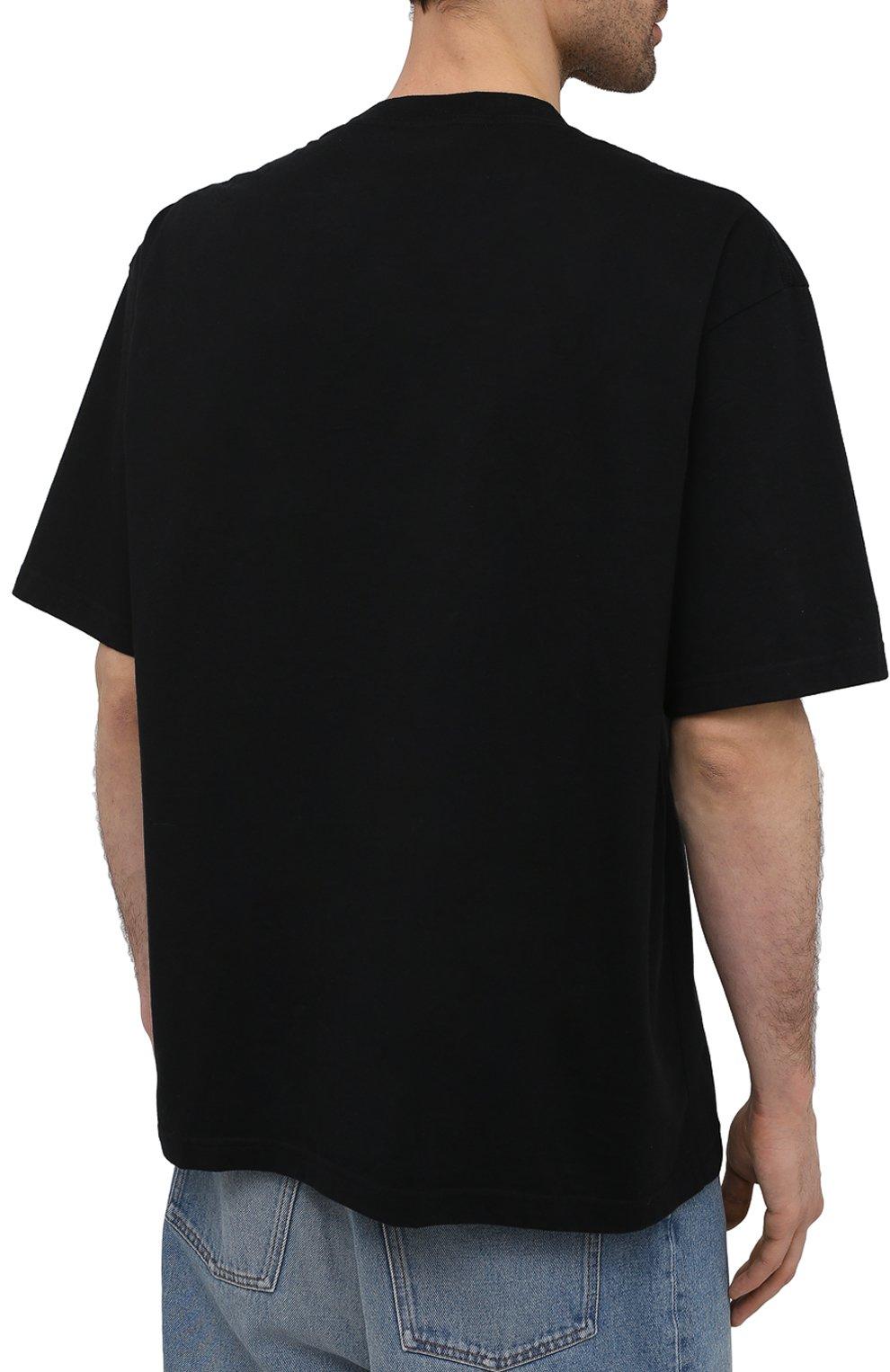 Мужская футболка BALENCIAGA черного цвета, арт. 612966/TJVI3   Фото 4 (Рукава: Короткие; Материал внешний: Синтетический материал, Хлопок; Длина (для топов): Стандартные; Стили: Гранж; Принт: С принтом)