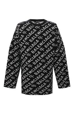 Мужской шерстяной свитер BALENCIAGA черного цвета, арт. 648042/T1599 | Фото 1 (Рукава: Длинные; Длина (для топов): Удлиненные; Материал внешний: Шерсть; Принт: С принтом; Мужское Кросс-КТ: Свитер-одежда; Стили: Минимализм)