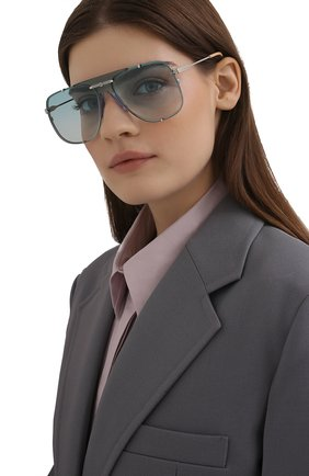 Женские солнцезащитные очки GUCCI бирюзового цвета, арт. GG0739S 003 | Фото 2