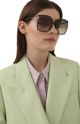 Женские солнцезащитные очки FENDI зеленого цвета, арт. 0431/G 1ED   Фото 2