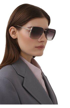 Женские солнцезащитные очки LINDA FARROW фиолетового цвета, арт. LFL1122C2 SUN   Фото 2