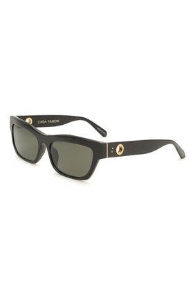Женские солнцезащитные очки LINDA FARROW черного цвета, арт. LFL1180C1 SUN   Фото 1