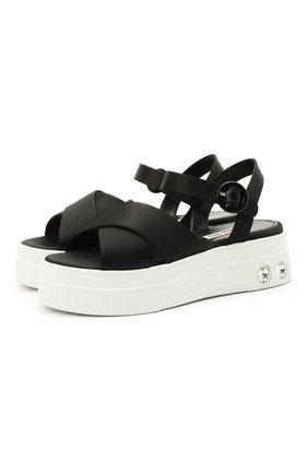 Женские текстильные сандалии MIU MIU черного цвета, арт. 5X996C/71L   Фото 1