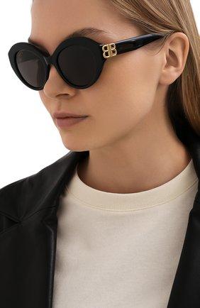 Женские солнцезащитные очки BALENCIAGA черного цвета, арт. 648054/T0001 | Фото 2