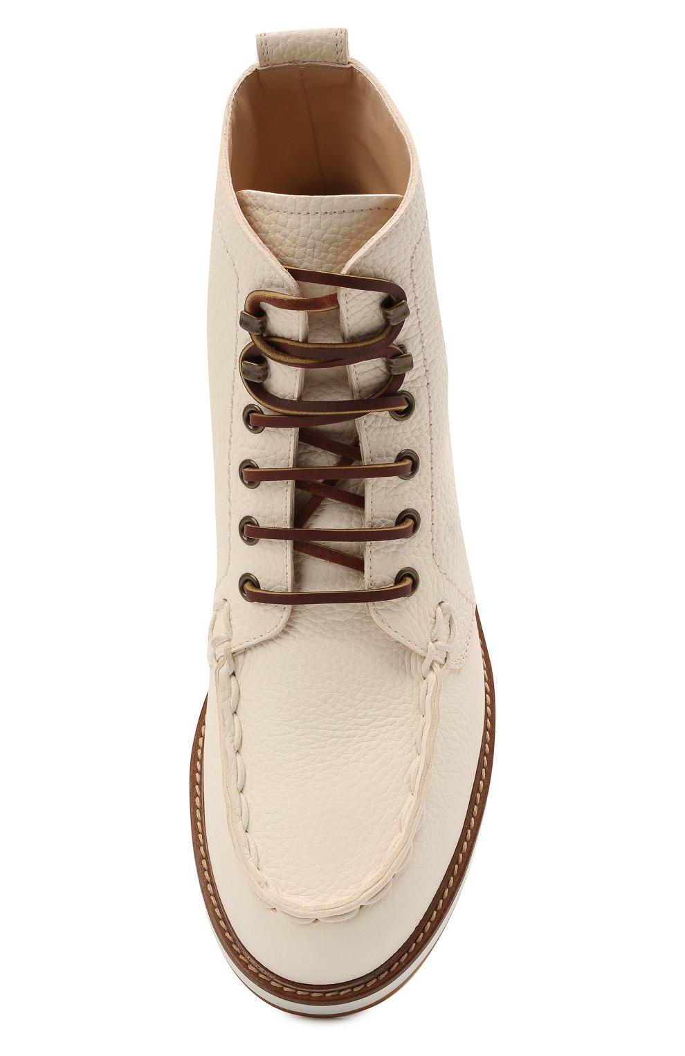 Женские кожаные ботинки TOD'S белого цвета, арт. XXW05E0EF70EK0 | Фото 5