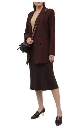 Женские кожаные туфли TOD'S бордового цвета, арт. XXW09D0EC900G9 | Фото 2