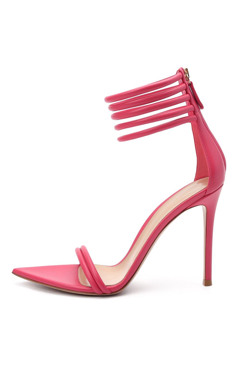 Женские кожаные босоножки dala GIANVITO ROSSI розового цвета, арт. G61695.15RIC.NAPRUR0 | Фото 3