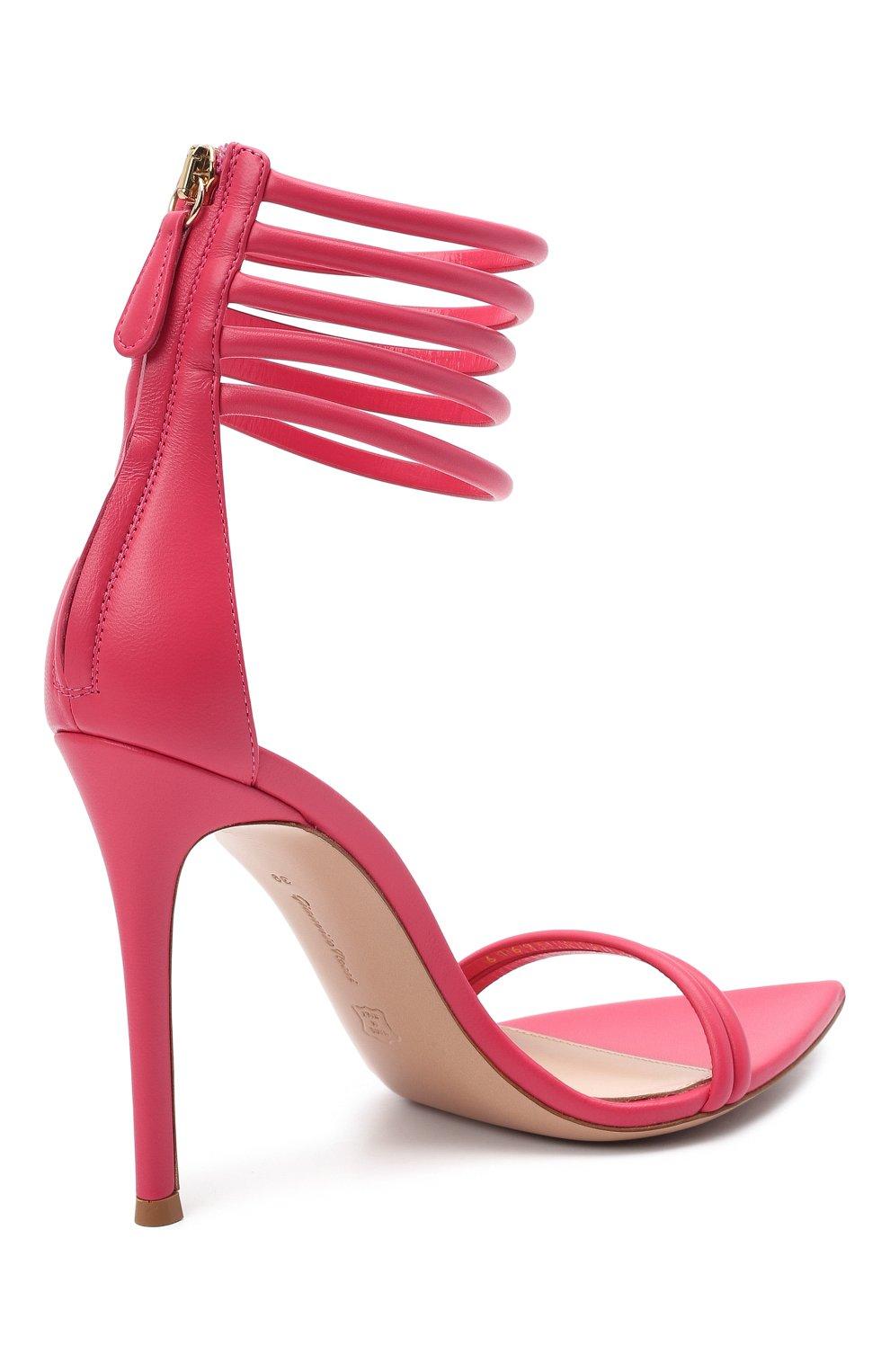 Женские кожаные босоножки dala GIANVITO ROSSI розового цвета, арт. G61695.15RIC.NAPRUR0 | Фото 4