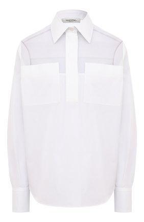 Женская хлопковая блузка VALENTINO белого цвета, арт. VB3AB2004HP | Фото 1