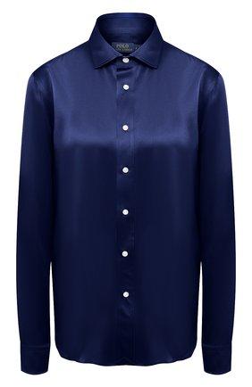 Женская шелковая рубашка POLO RALPH LAUREN синего цвета, арт. 211798122 | Фото 1
