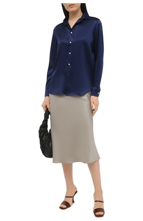 Женская шелковая рубашка POLO RALPH LAUREN синего цвета, арт. 211798122 | Фото 2