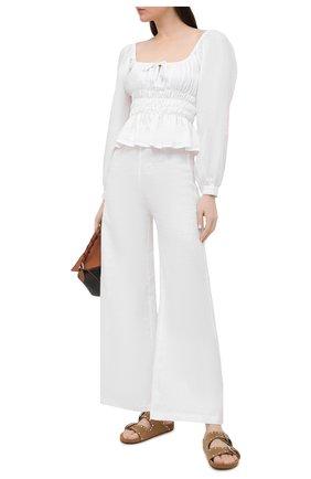Женские льняные брюки FAITHFULL THE BRAND белого цвета, арт. FF1683-WHT | Фото 2