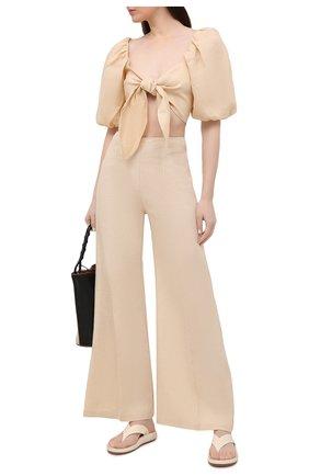 Женские льняные брюки FAITHFULL THE BRAND кремвого цвета, арт. FF1683-PSD | Фото 2