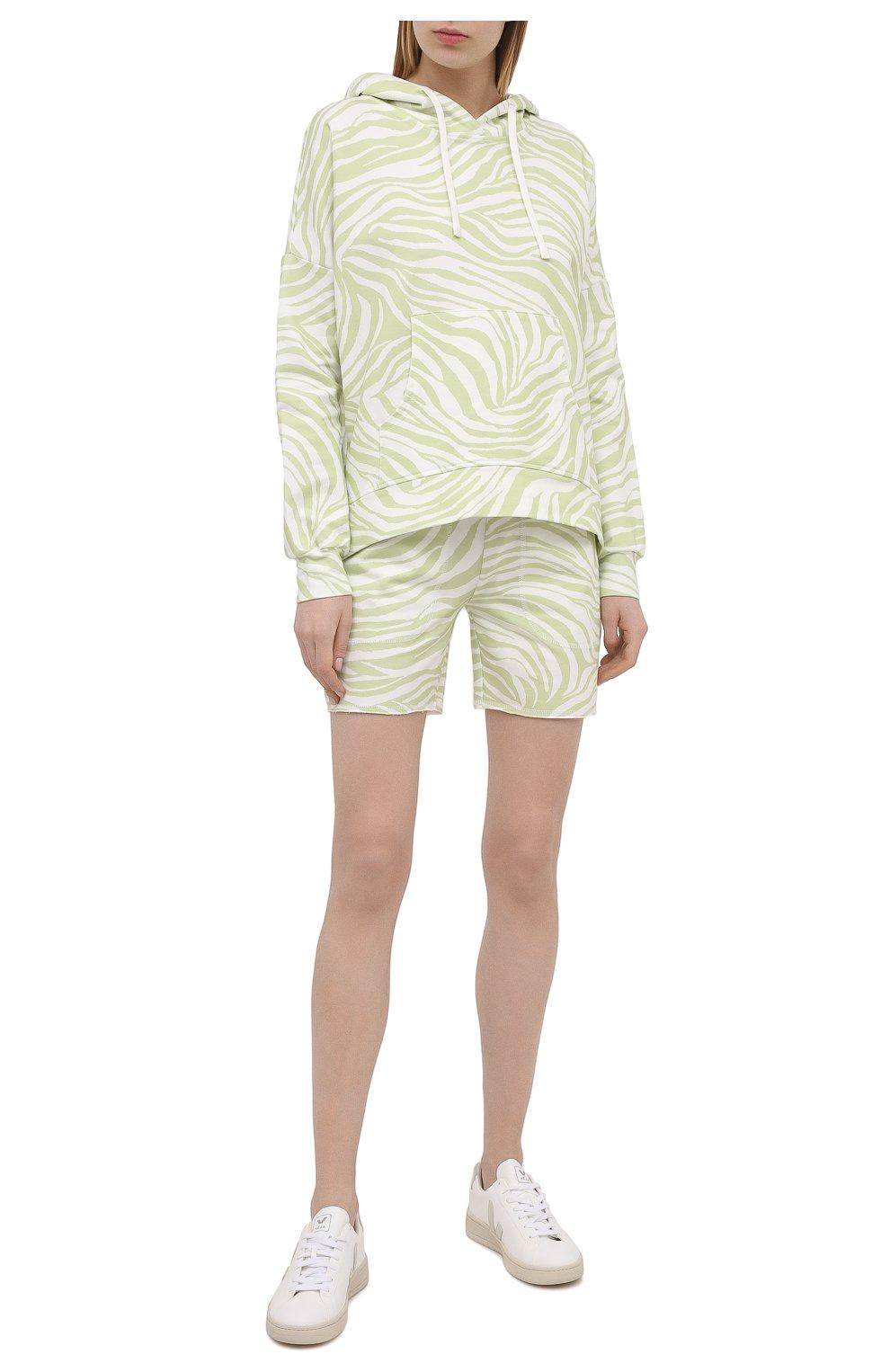 Женские хлопковые шорты EVA B.BITZER светло-зеленого цвета, арт. 11323345 | Фото 2 (Длина Ж (юбки, платья, шорты): Мини; Женское Кросс-КТ: Домашние шорты; Материал внешний: Хлопок)
