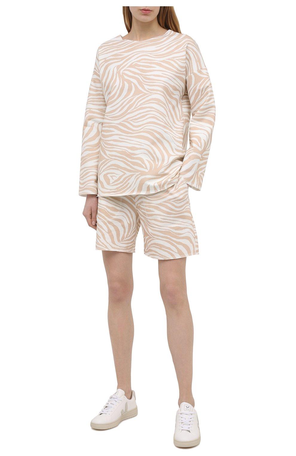 Женские хлопковые шорты EVA B.BITZER бежевого цвета, арт. 11323345 | Фото 2 (Длина Ж (юбки, платья, шорты): Мини; Женское Кросс-КТ: Домашние шорты; Материал внешний: Хлопок)