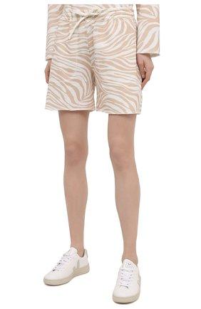 Женские хлопковые шорты EVA B.BITZER бежевого цвета, арт. 11323345 | Фото 3 (Длина Ж (юбки, платья, шорты): Мини; Женское Кросс-КТ: Домашние шорты; Материал внешний: Хлопок)