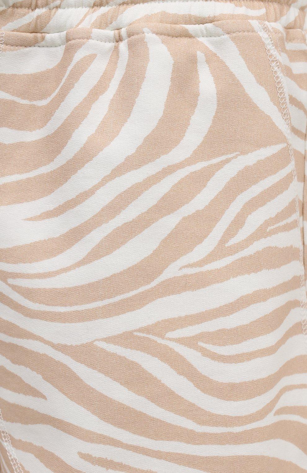 Женские хлопковые шорты EVA B.BITZER бежевого цвета, арт. 11323345 | Фото 5 (Длина Ж (юбки, платья, шорты): Мини; Женское Кросс-КТ: Домашние шорты; Материал внешний: Хлопок)