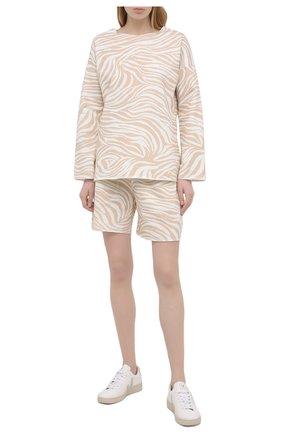Женская хлопковый пуловер EVA B.BITZER бежевого цвета, арт. 11323334 | Фото 2